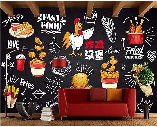 Murales Clásico Estereo 3D Wallpaper Pizarra Dibujado A Mano Pollo ...