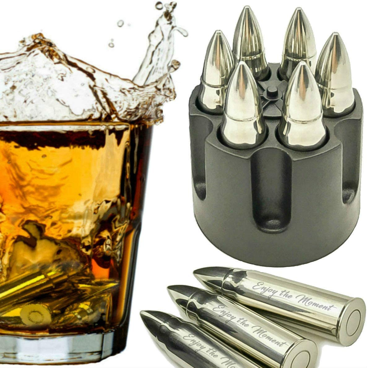Whiskey Stones Extra Large 6 Laser Engraved Stainless Steel Bullets with Revolver Barrel Base Reusable Chilling Rocks Stone Ice Cubes Chillers Birth Day Gift Set for Father's Day, Military Man