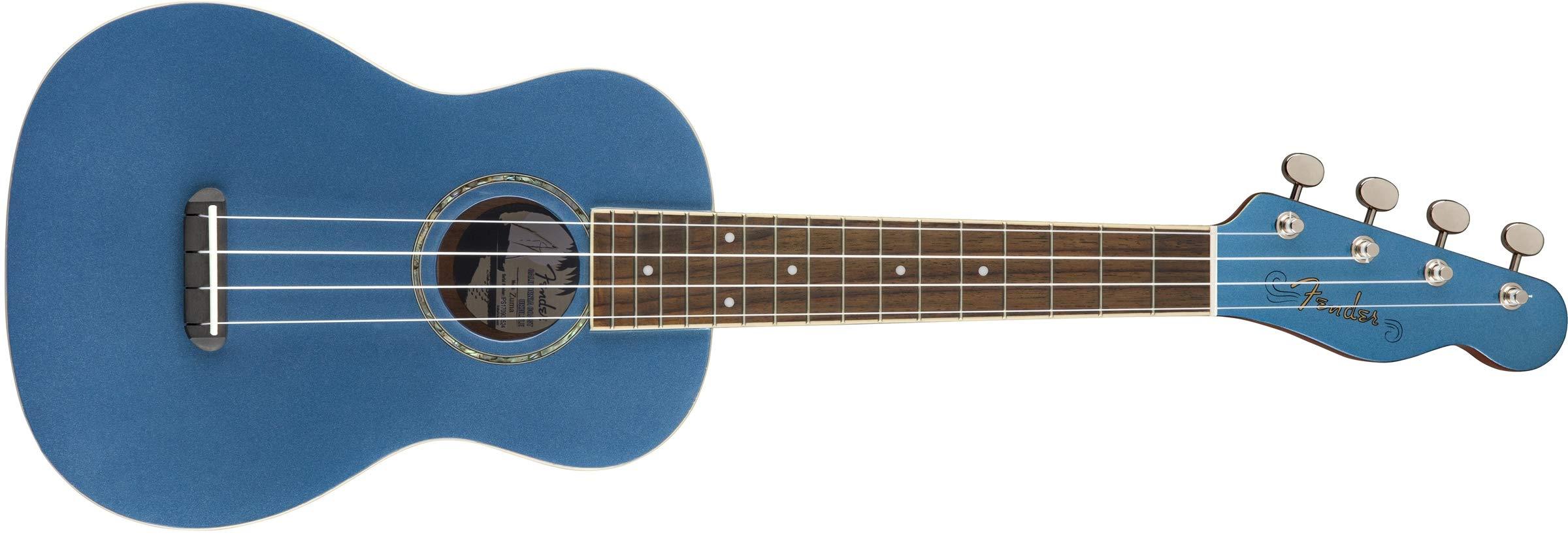 Fender Zuma Concert Uke, Walnut Fingerboard, Lake Placid Blue