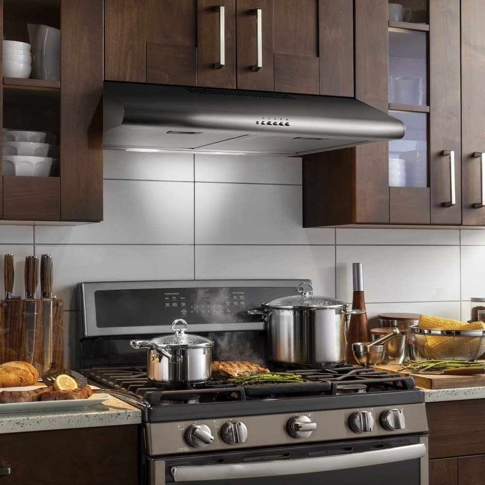 Cosmo 30 in. 200 CFM Ducted Under Cabinet Stainless Steel Range Hood with Push Button Control Panel, Kitchen Vent Hood Exhaust Fan with Aluminum Filters and LED Lighting