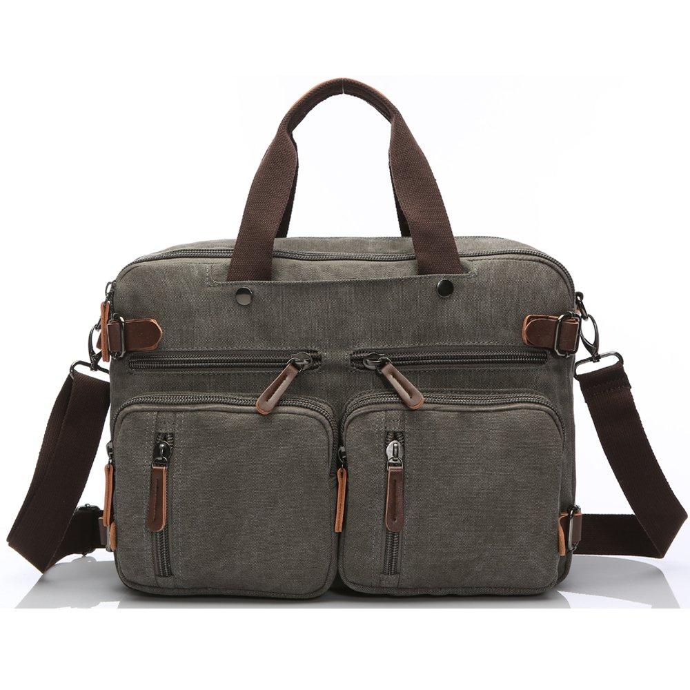 14 inch 15.6 inch Laptop Bag,Sheng TS Hybrid Multifunction Messenger Bag Convertible Laptop Rucksack BookBag Canvas for Men,Women,College Students (Vintage Brown Canvas, 15.6 inch) 8961