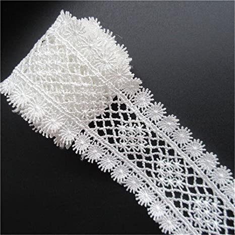 5 Meters White Flower Cotton Crochet Lace Trim Ribbon Appliques DIY Sewing Craft