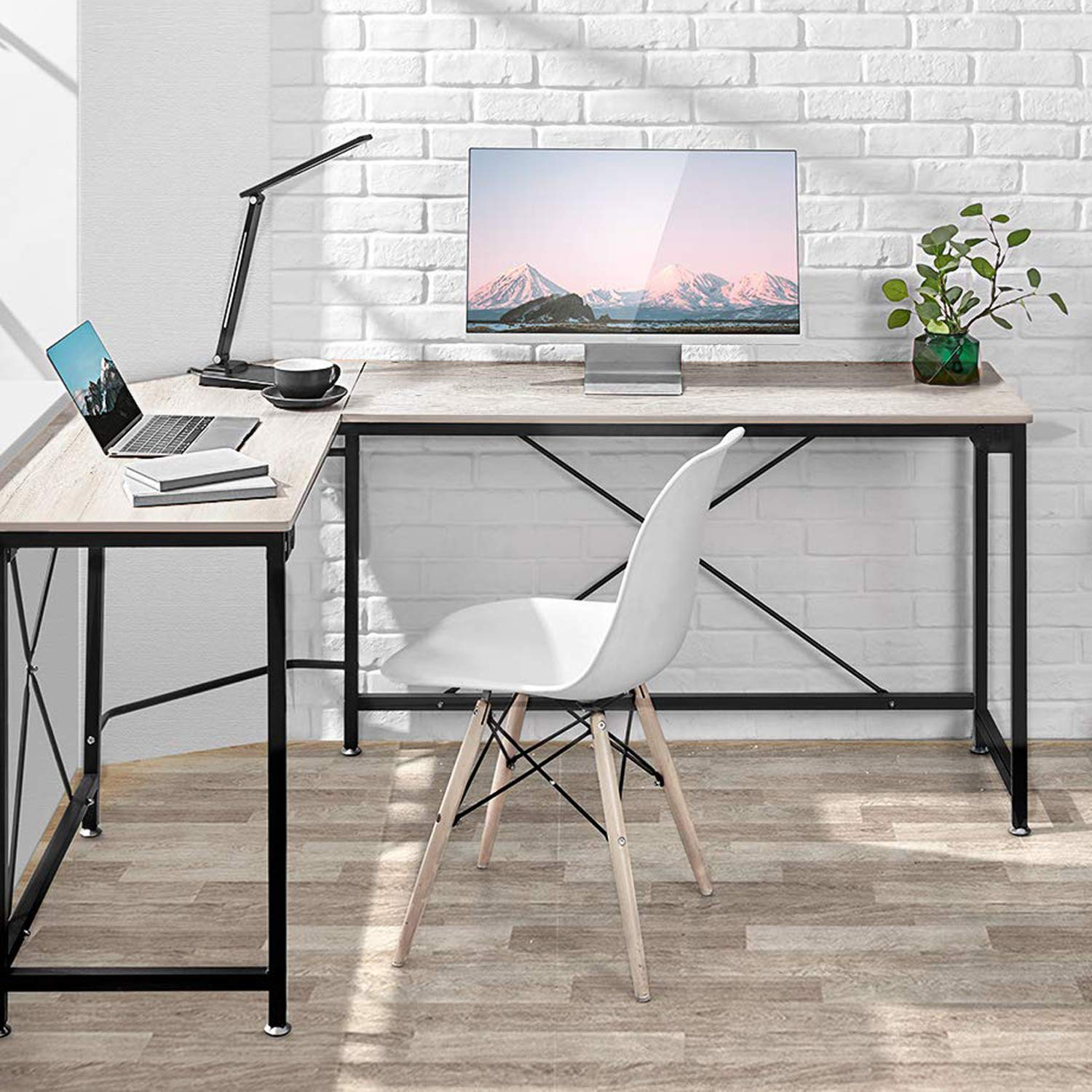 L-Shaped Desk Corner Computer Desk, PC Laptop Home Office Desk, Corner Table Workstation with Modern Style and MDF Board, Easy to Assemble Scratch Resistant Tabletop 64.9x49x29.7 inches, Wood Grain by kealive