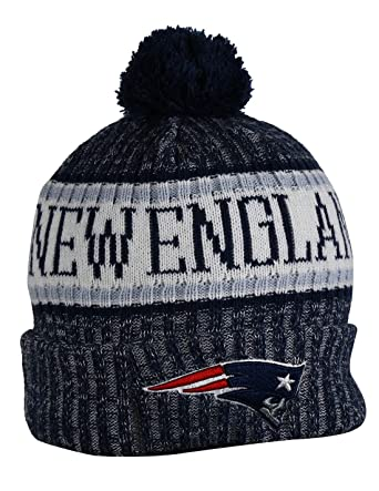 1851d93e7c9dc Amazon.com  NE PATRIOTS Adult Winter Knit Beanie Hat With Removable Pom Pom  One Size Fits Most Multicolor  Clothing