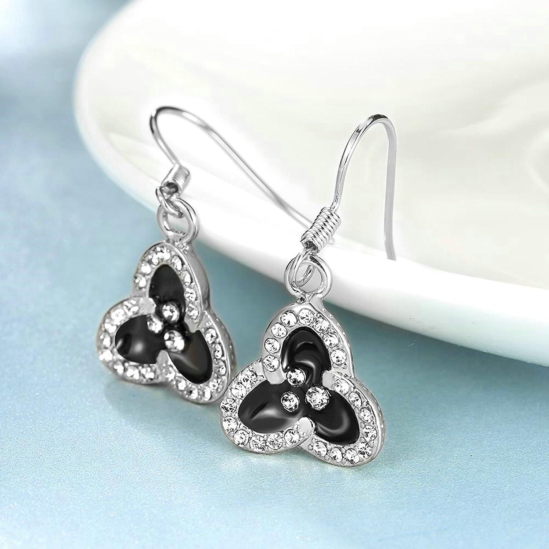 Gnzoe Fashion Jewelry 18K Silver Plated Drop Earrings Fishhook Shamrock Oil Drip Crystal Eco Friendly