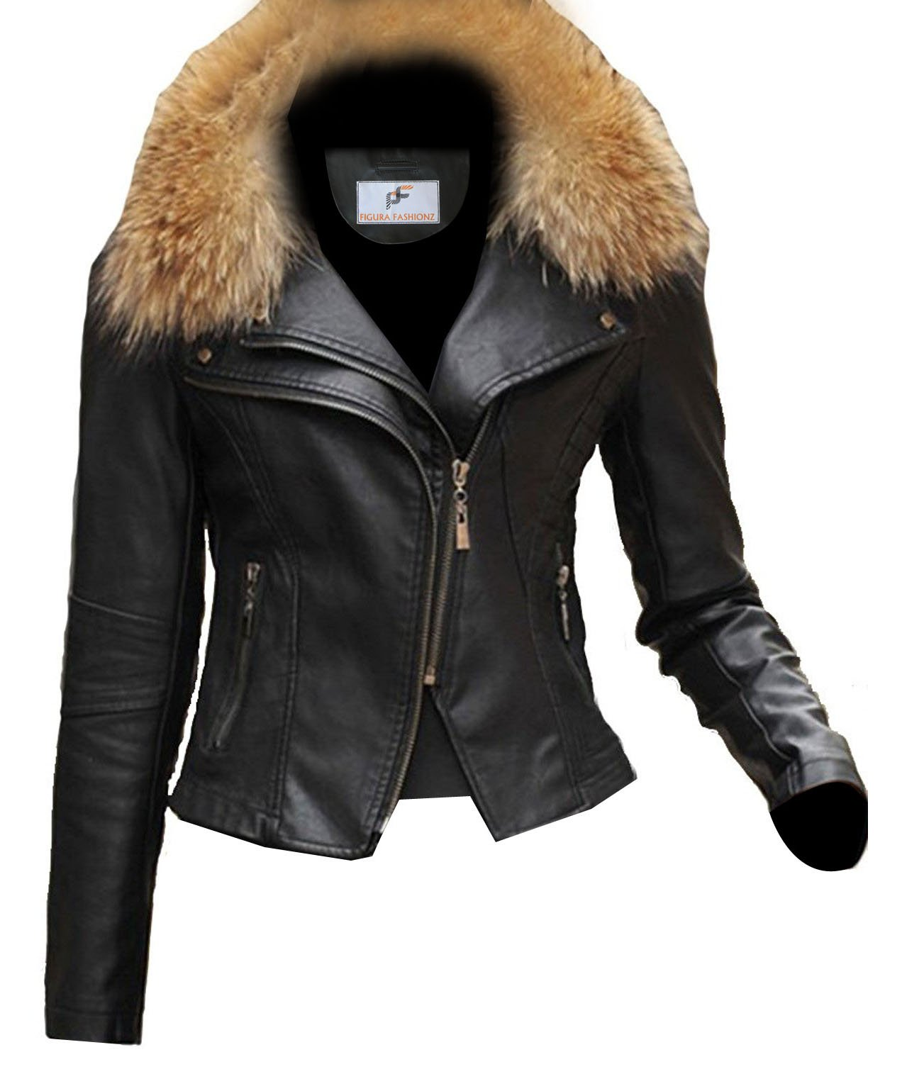 Figura Fashionz Short Body Furry Lambskin Leather Jacket for Women by Figura Fashionz