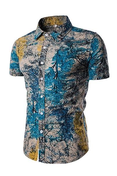 5fd4b1885 Yacun Hombres Camisas Hawaianas Botón Casual Tops Manga Corta De La Playa   Amazon.es  Ropa y accesorios