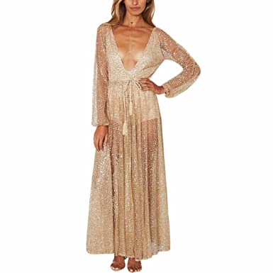 Z Womens Sexy Lace Sleeve Deep V Neck Pleated Long Prom Dress Maxi See