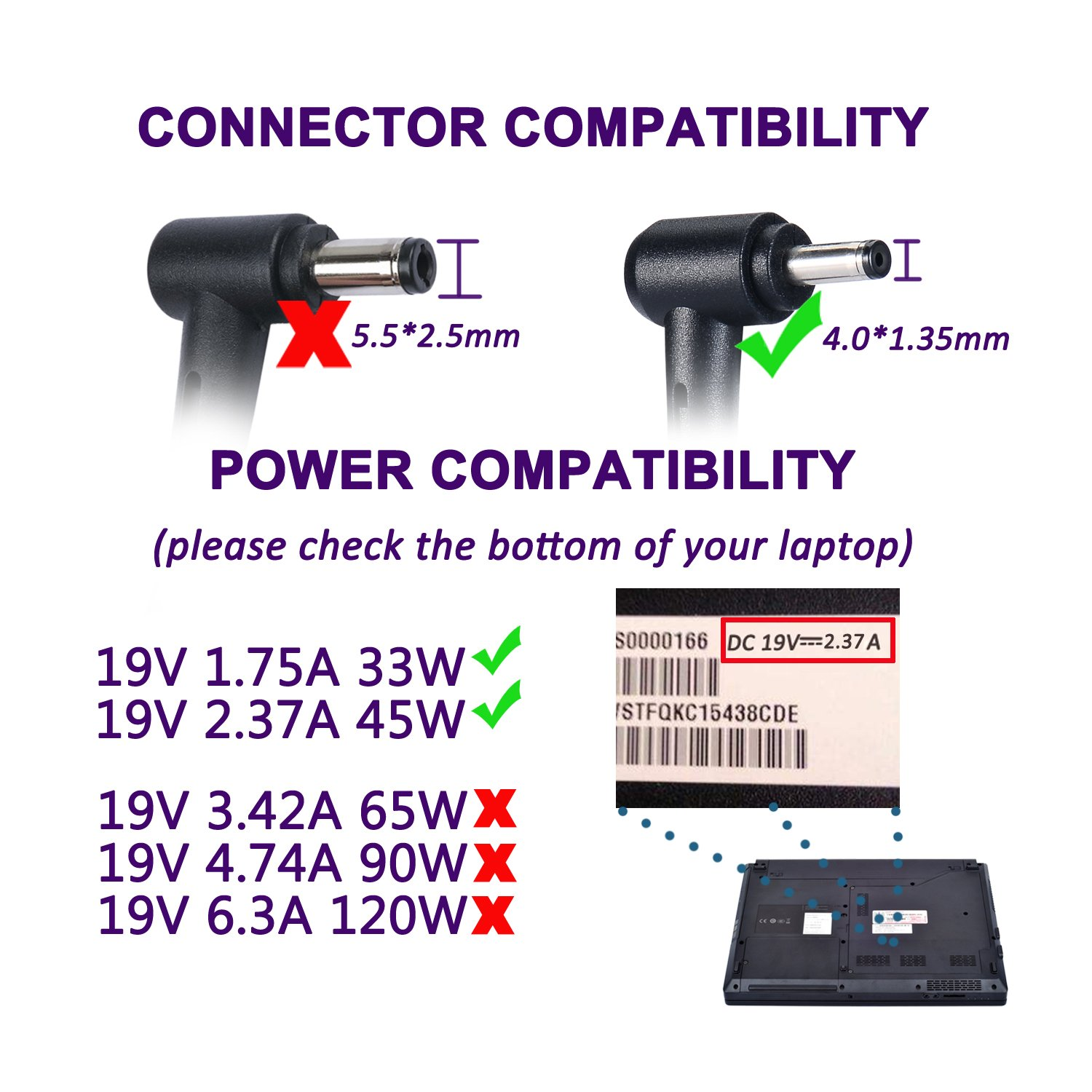 Laptop Power Supply 45W Notebook Charger for Asus UX330 UX330U UX360 UX360C UX305 UX305C X540 X541 F553 F553M F556 F556U F302 K556 K556U Taichi 21 31 ASUS AC Adapter (45W 19V 2,37A & 33W 19V 1,75A) by Purpleleaf (Image #4)