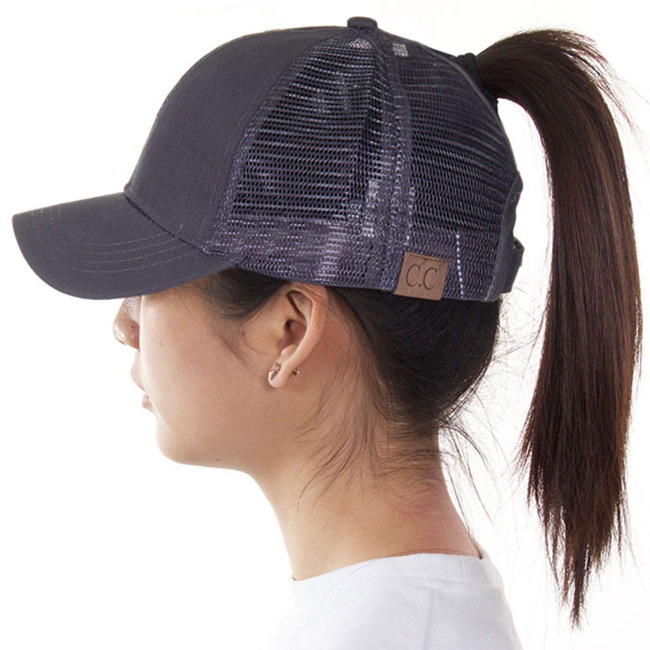 ScarvesMe C.C Exclusive Mesh Ponytail Messy Bun Ponycap Baseball Cap (Charcoal)