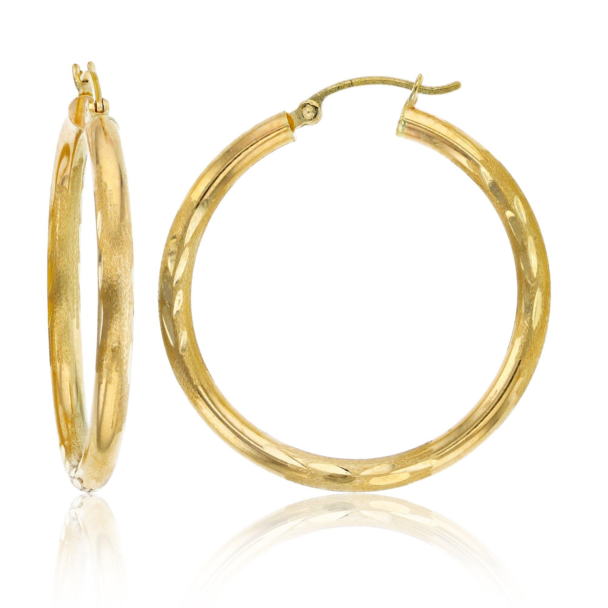 Decadence Women's 14k Yellow Gold 3X35mm DC Hoop Earrings