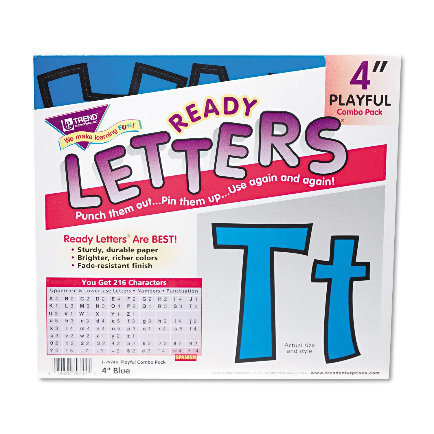 TREND Ready Letters Playful Combo Set, Blue, 4h, 216/Set - T79744 Pack of 2