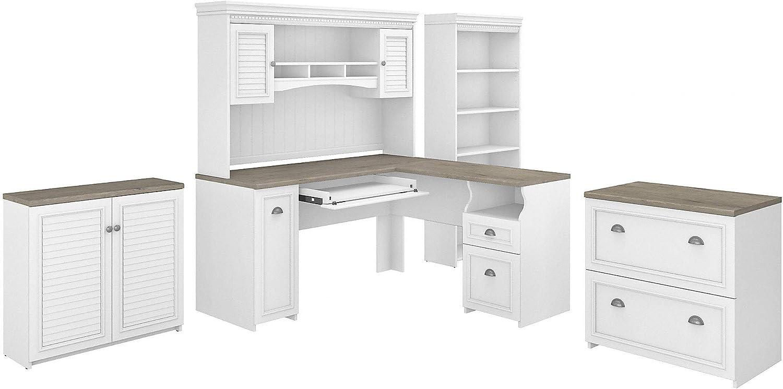 Bush Furniture Fairview 60W L Desk, Hutch, Low Storage, LAT File and Bookcase, Shiplap Gray/Pure White