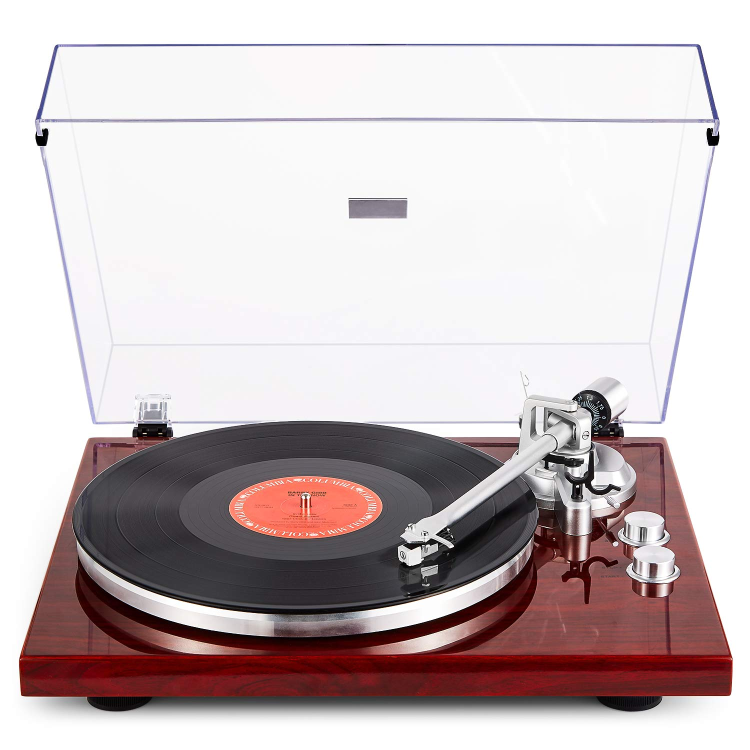 1byone Turntable with Wireless Connectivity, Built-in Phono Pre-Amplifier & USB Digital Output Vinyl Record Player with Magnetic Cartridge, Red by 1 BY ONE