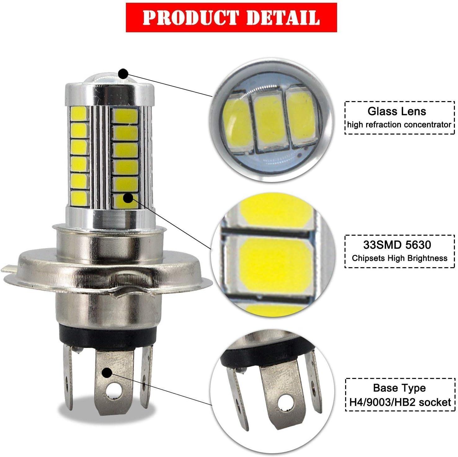 Hot H4 33 SMD 5630 LED 800LM White Car Signal Headlight Auto Fog Light Bulb Gift