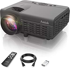 Mini Projector, Asnish Portable Bluetooth Projector Home Theater with 50000 Hrs LED Lamp Life, Full HD 1080P Supported , Compatible with TV Stick, Switch, Laptop, PS5,TF, USB, VGA, HDMI (Black)