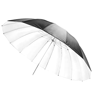 Walimex Pro - Paraguas difusor réflex (diámetro 180 cm), blanco y negro