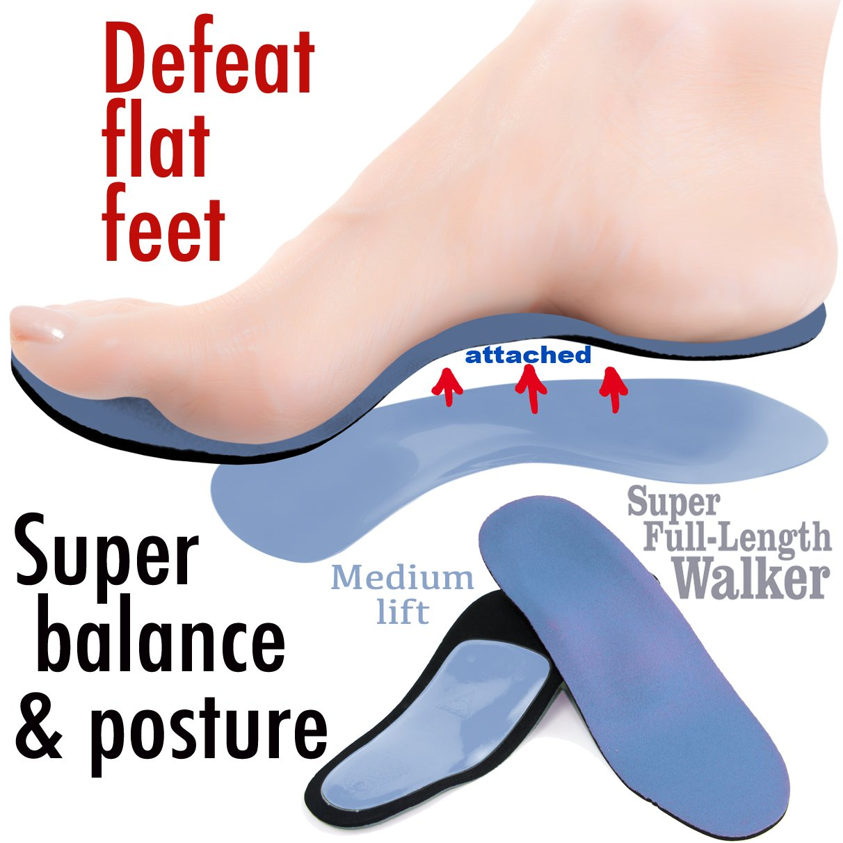 Travel Feet Super Balance Walker Full Length Cushioned Orthotic Arch Support Insole Shoe Insert
