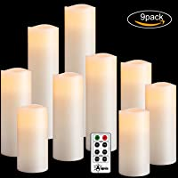 "Flameless Candles Set of 9(H4""5""6""7""8""9""xD2.2"") Battery Candles Dancing Flame Effect Include 10-key Remote Timer by Aignis(Batteries not included)"
