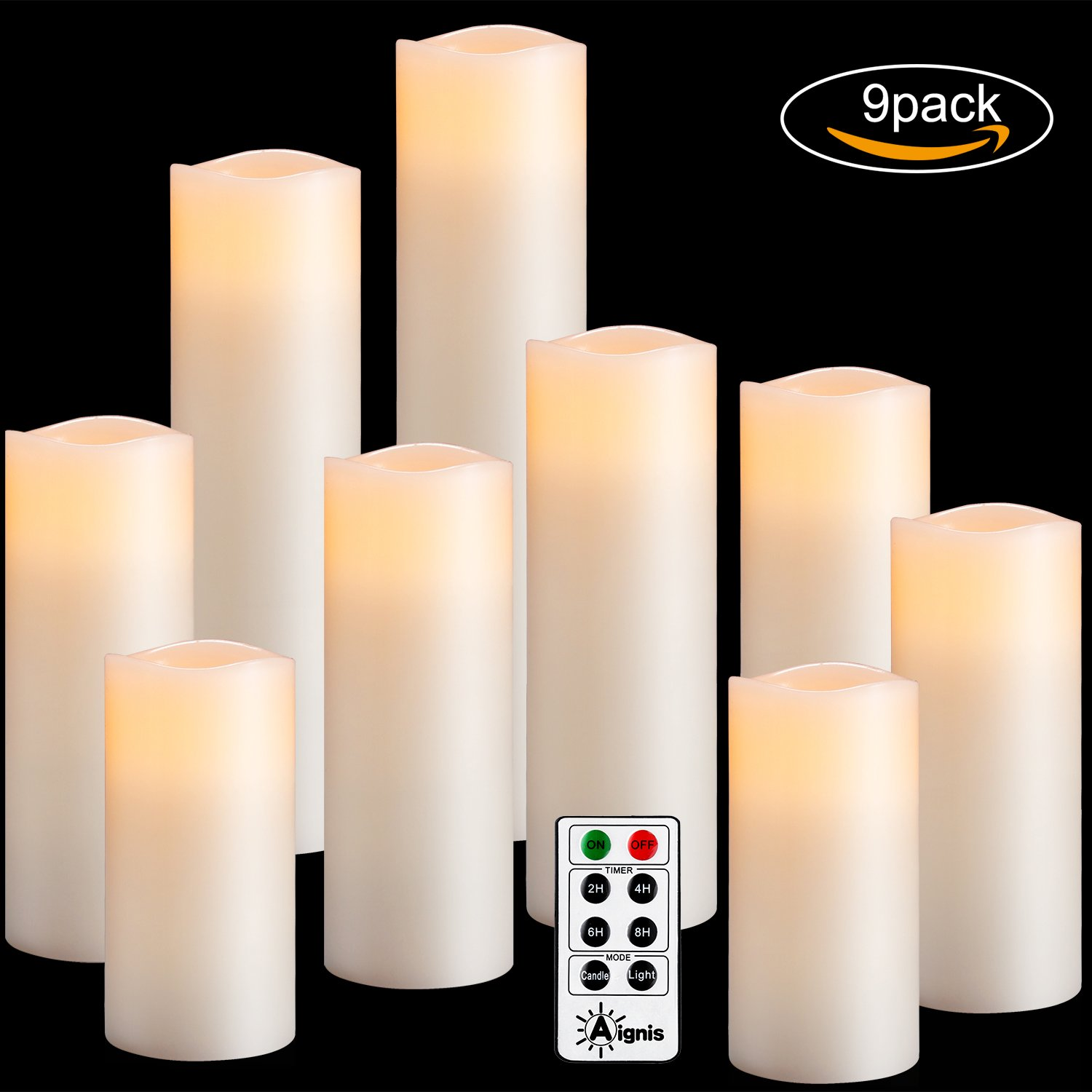 Flameless Candles Set of 9(H4''5''6''7''8''9''xD2.2'') Battery Candles Dancing Flame Effect Include 10-key Remote Timer by Aignis(Batteries not included)