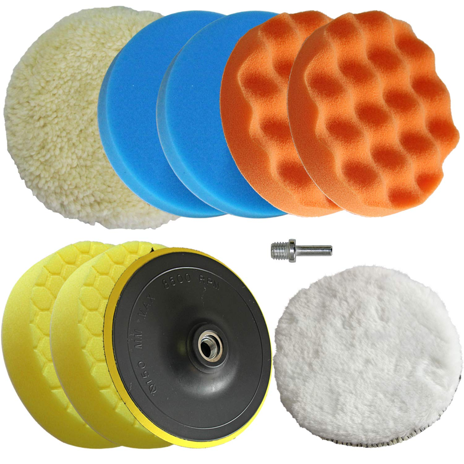 Polishing Pad Buffing Wheel Kit 10PCS with Waffle Foam & Lambs Wool Hook and 6inch Polishing Buffer Wool with M14 Drill Adapter Fit for Metal Aluminum Stainless Steel Chrome Wood Plastic Glass etc