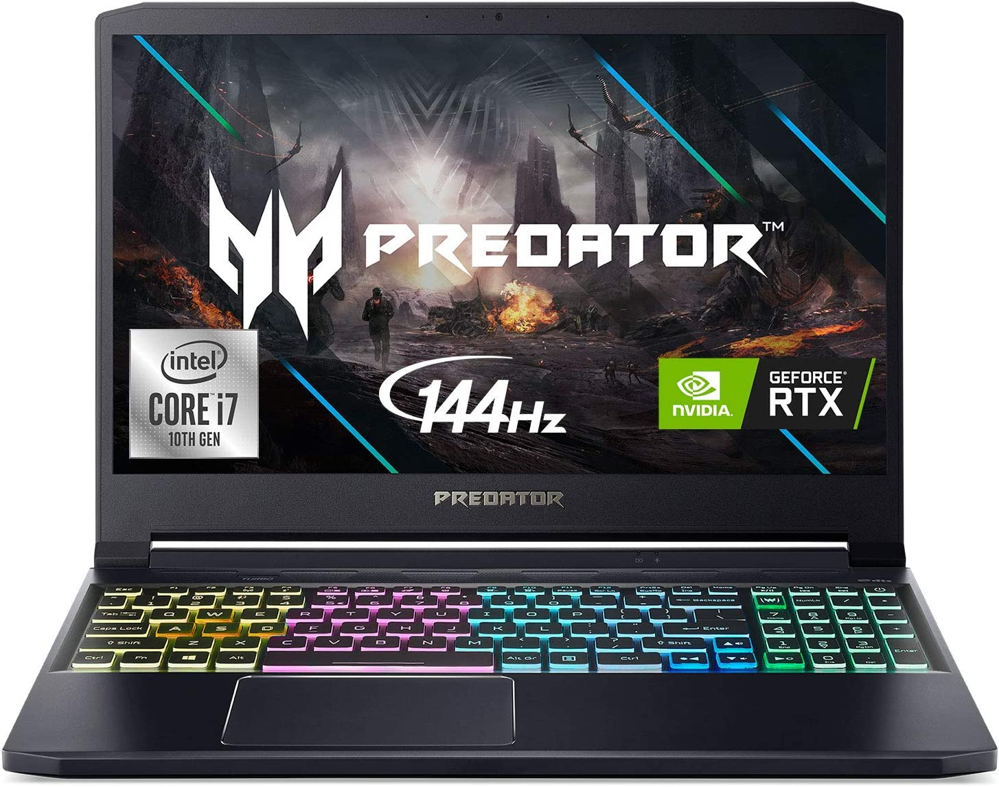 "Acer Predator Triton 300 Gaming Laptop, Intel i7-10750H, NVIDIA GeForce RTX 2060, 15.6"" Full HD IPS 144Hz 3ms IPS Display, 16GB Dual-Channel DDR4, 1TB NVMe SSD, WiFi 6, RGB Backlit KB, PT315-52-78W1"
