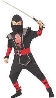 Amazon.com: Kids Ninja Costume Childrens Red Kung Fu Dress ...