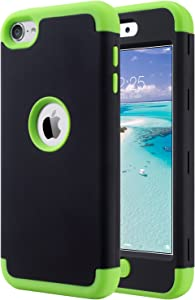 ULAK iPod Touch Case 6th Generation, iPod Touch 7 Case, iPod 5 Case, Heavy Duty High Impact Knox Armor Case Cover Protective Case for Apple iPod Touch 5 6th 7th Generation (Black+Green)