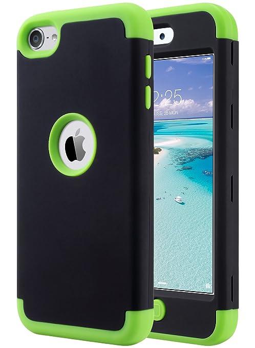 ULAK iPod 5 Caso, iPod Touch 6 Funda Carcasa híbrido de 3 Capas de Silicona a Prueba de Golpes Duro Caso Cubierta para iPod Touch 5ta / 6ta generación ...