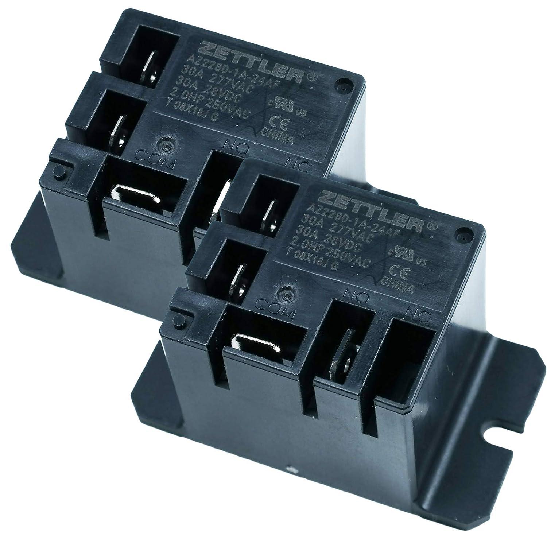 Universal 24 AC Volt ZETTLER Mini Power Relay AZ2280-1A-24AF 30A 277VAC 28VDC Pack of 2