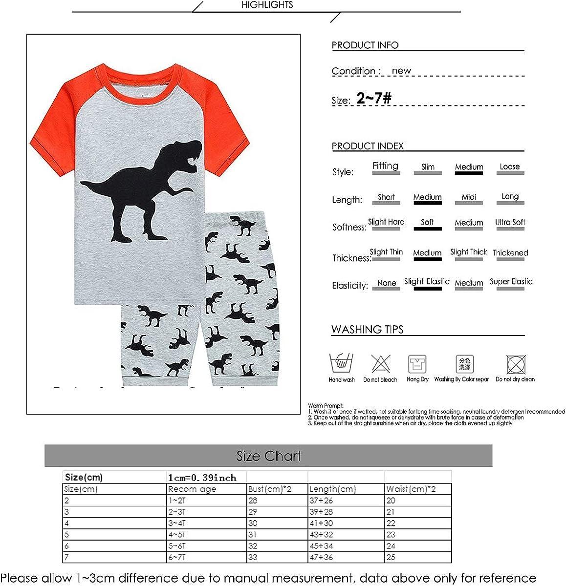 Casual Household Garment for Toddler Infant Aisheny Boys Vivid Cartoon Elf Dinosaur Print T-Shirt Shorts Set