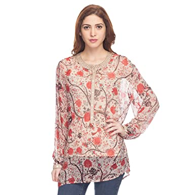 a5b3756a5a5b Haute Curry Casual Regular Fit Womens Printed Top Color: Beige Fabric:  Georgette Size:
