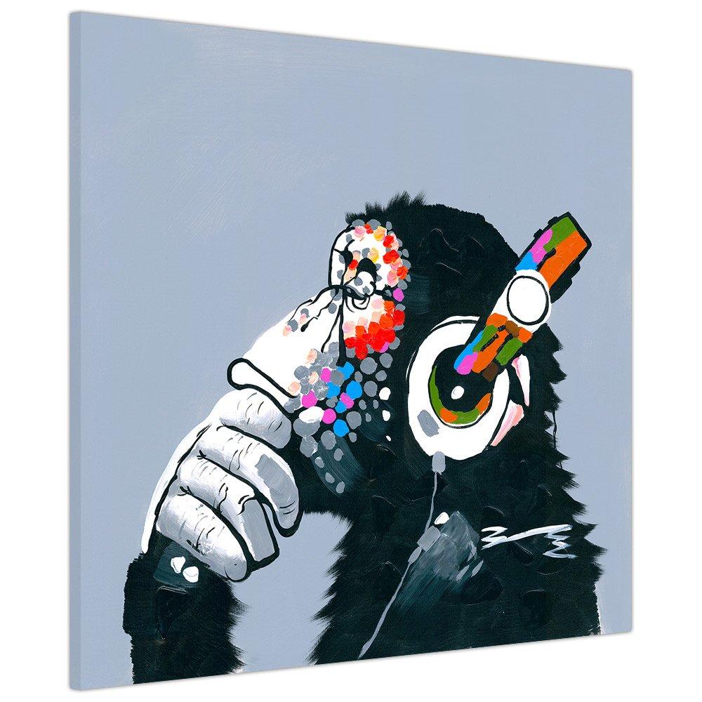 Affe mit Kopfhörer auf gerahmter Leinwand, Kunstdruck für Zuhause, Bild als Wanddekoration, 05- 34