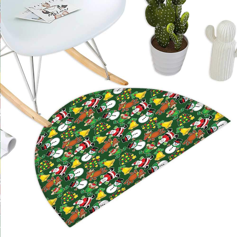 color13 H 31.5  xD 47.2  Christmas Semicircle Doormat Vivid Classical Baubles with Ribbons and Different Patterns Abstract Halfmoon doormats H 27.5  xD 41.3  Petrol bluee Grey Red
