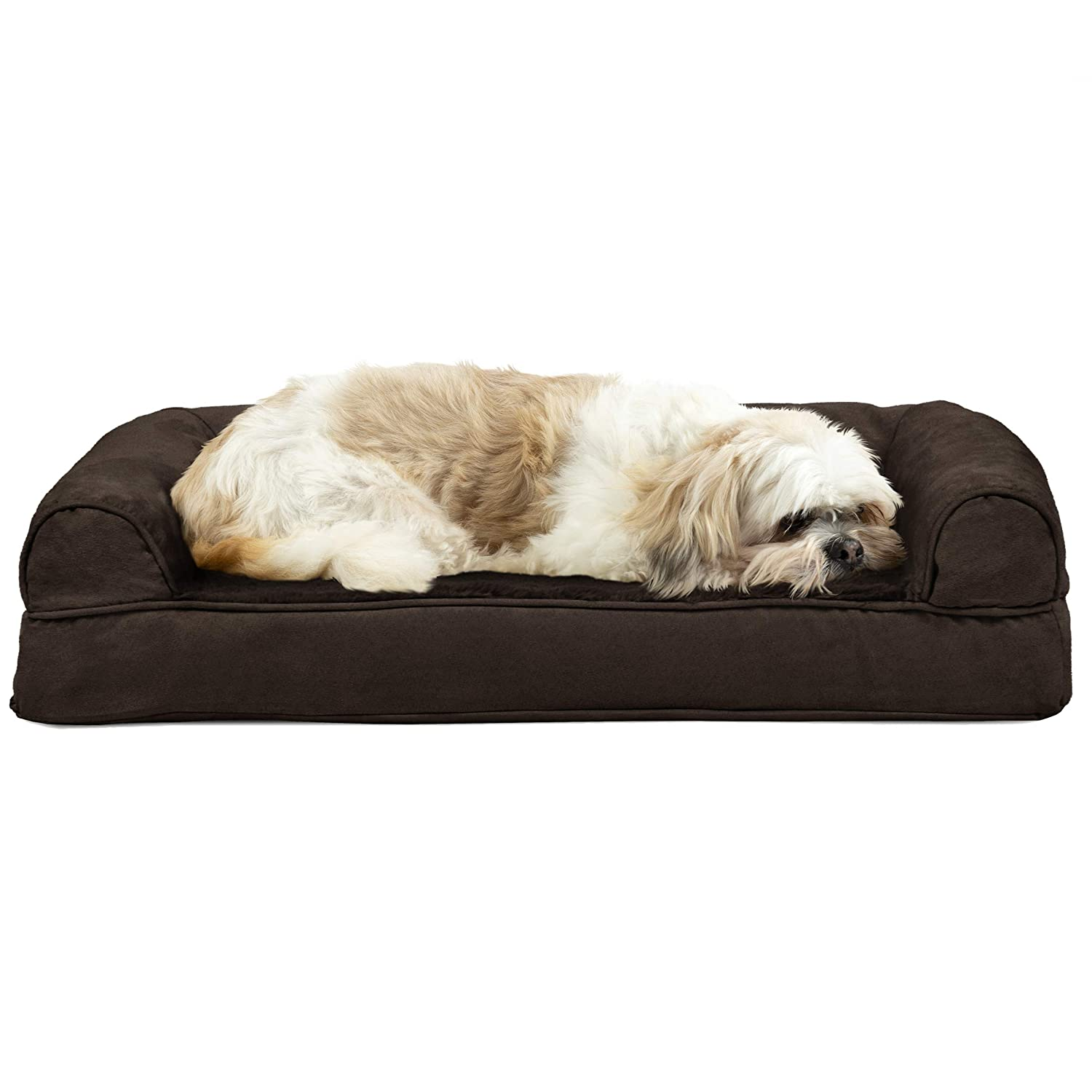 Furhaven Pet Dog Bed   Cooling Gel Memory Foam Orthopedic Ultra Plush Sofa-Style Couch Pet Bed for Dogs & Cats, Espresso, Medium