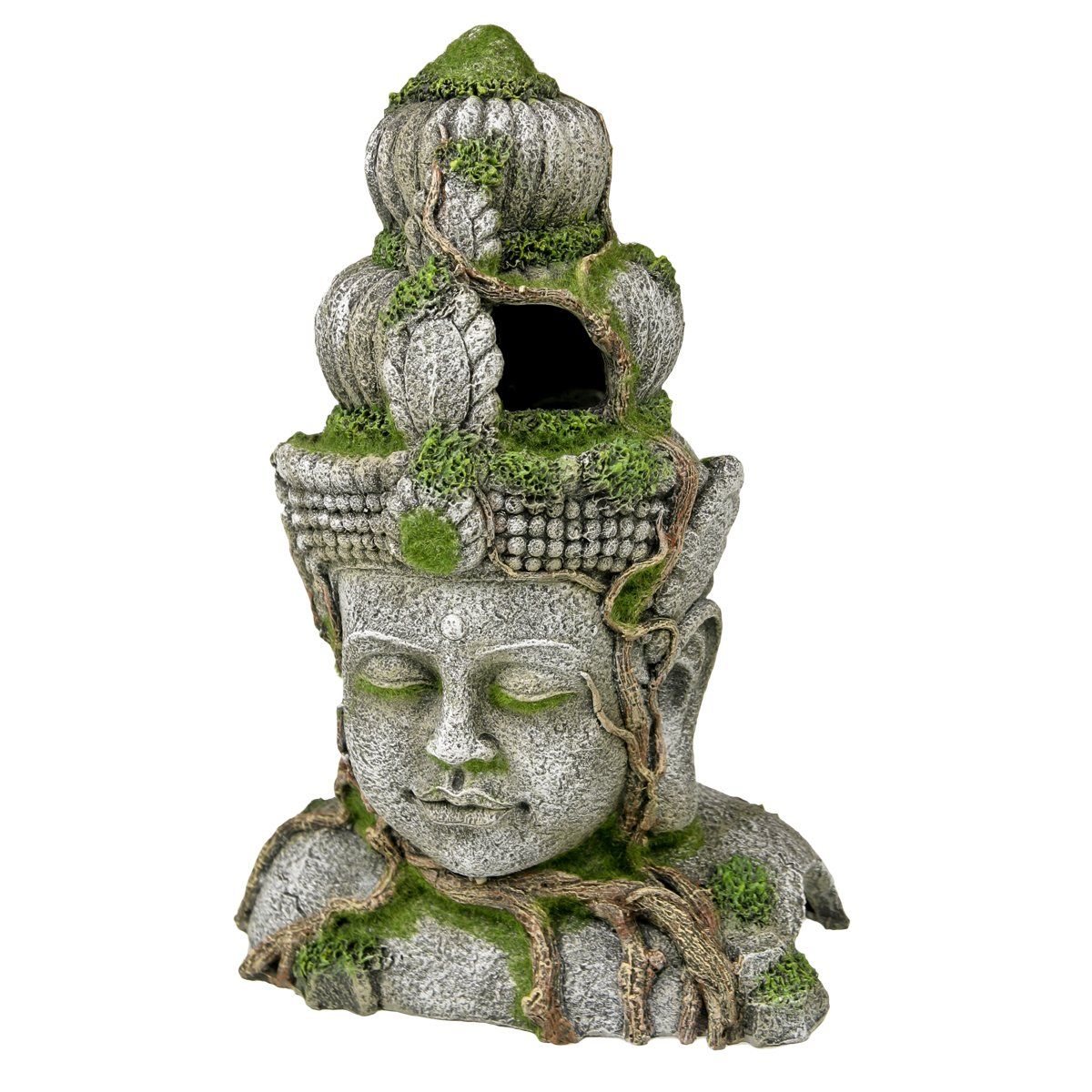 bluee Ribbon EE-697 Cambodian Warrior Statue with Moss Exotic Environments Aquarium Ornament