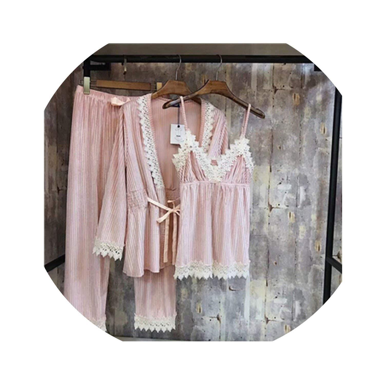 Pink Pajamas Women Sleepwear Pajamas Pants Suit Autumn Sleepwear 3 Pcs Suit Ladies for Women