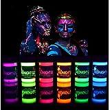 Midnight Glo Black Light Paint UV Neon Face & Body Paint Glow Kit (6 Bottles 0.75 oz. Each) - Blacklight Reactive Fluorescent