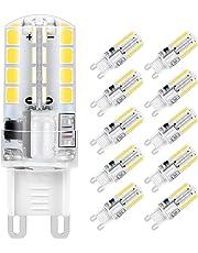 Lampadina LED G9, 5W 32x2835 SMD Risparmio Energetico Lampada, Bianco Freddo 6000K, Equivalente a 40W Lampada Alogena, 400lm, Angolo di visione 360°, AC220-240V, Confezione da 10 by Jpodream
