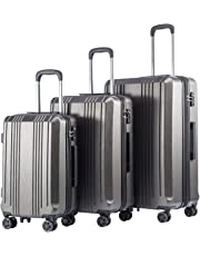 Coolife Luggage Expandable Suitcase PC+ABS with TSA Lock Spinner 20in24in28in (Grey, 3 Piece Set)