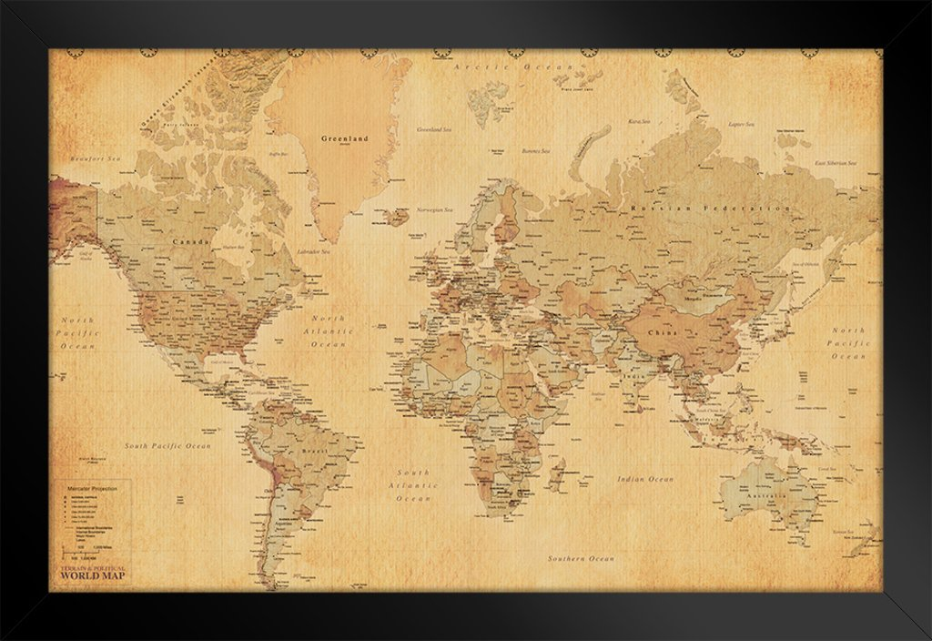 Pyramid America World Map Vintage Style Longitude Latitude Earth Atlas Framed Poster 20x14 inch