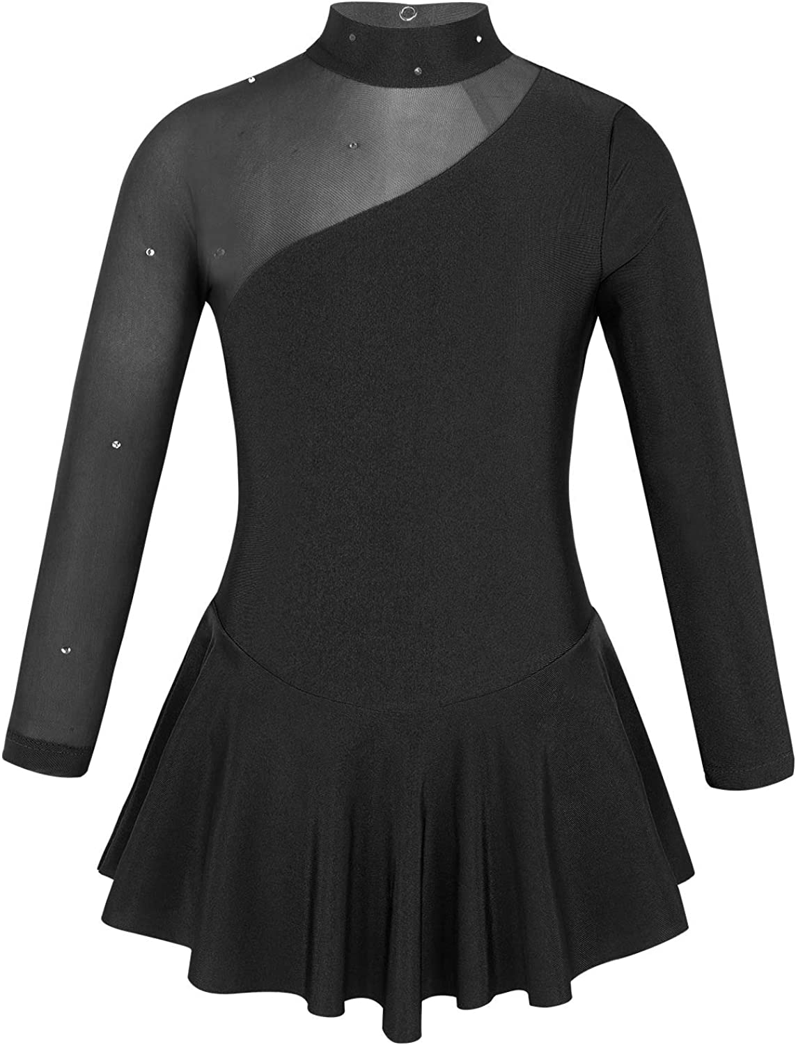 Girls Kids Long Sleeves Skating Dress Chiffon Ballet Dance Leotard Gymnastics