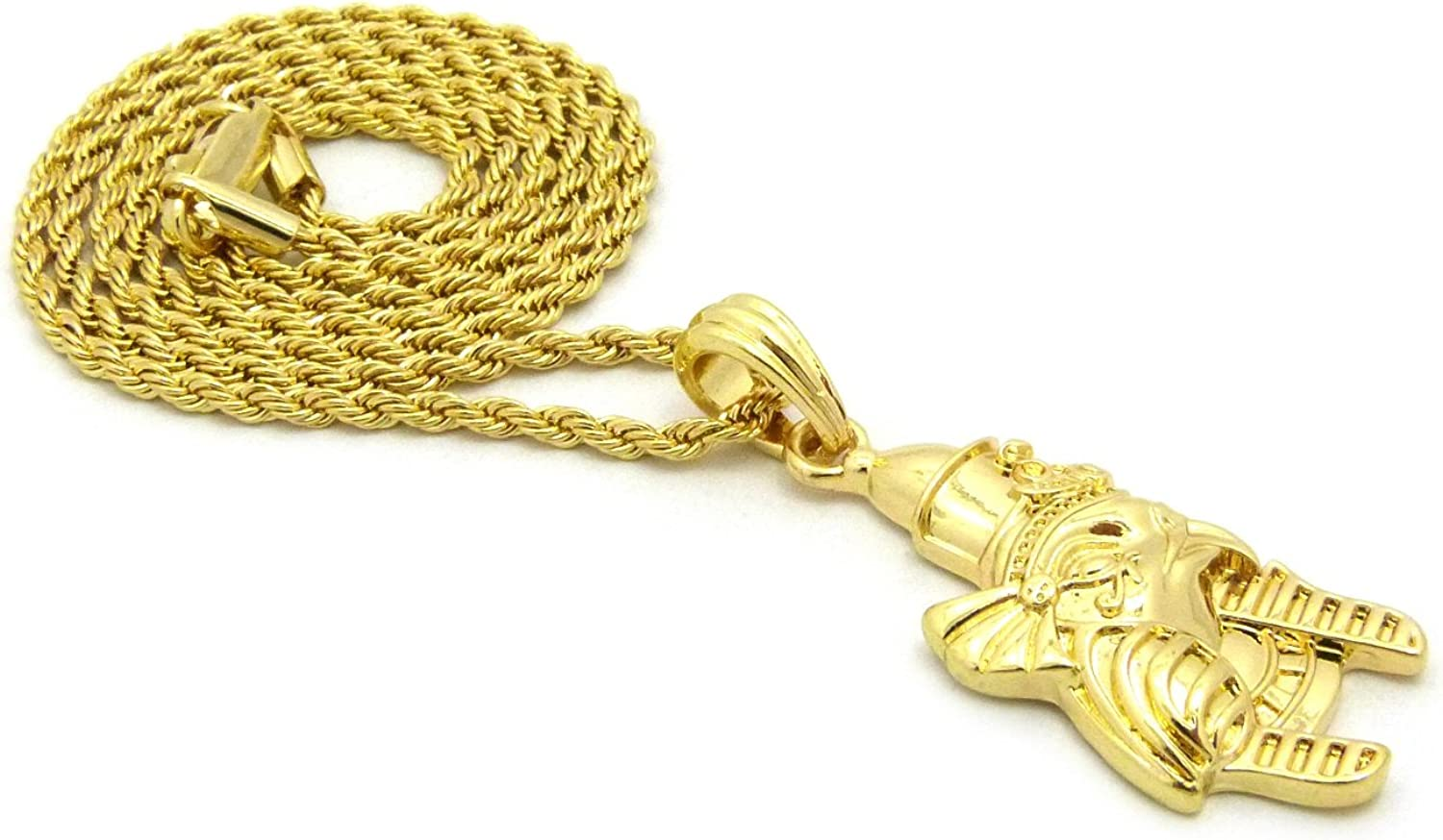 Micro Egyptian Wearing Pschent Horus Pendant 24 Box Rope Chain Necklace Gold Tone