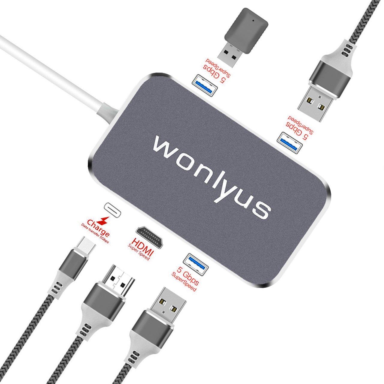 USB C Hub Type-C 3.1 HDMI Thunderbolt Adapter, HDMI 4K 60Hz Thunderbolt 3 USB 3.1 PD Quick Charging Port 100W 3 USB 3.0 Ports for MacBook, Galaxy S8, Galaxy S9 and More