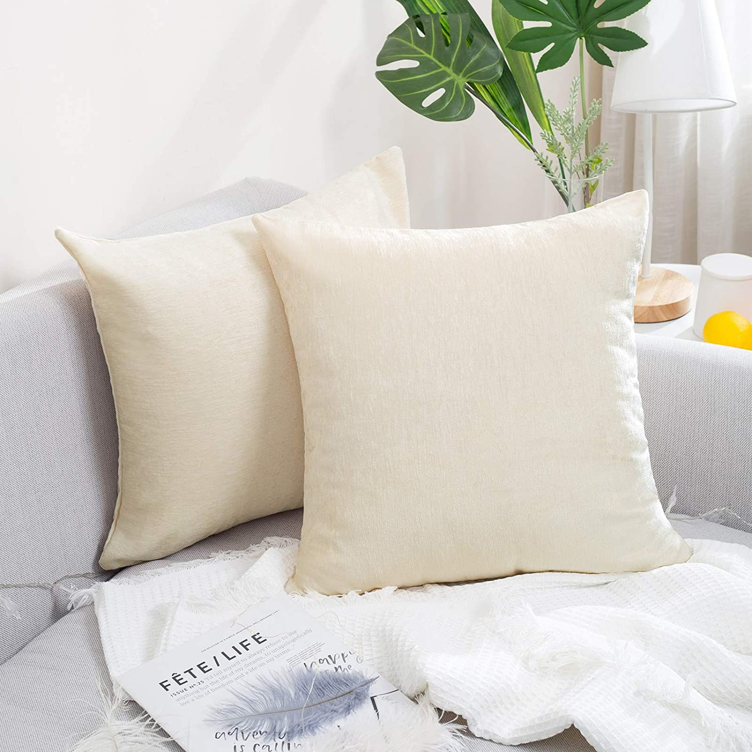 AVOE Pack of 2 Chenille Throw Pillow Covers, Comfy Home Decorative Pillowcase Throw Cushion Case for Couch Sofa Bedroom (20x20 Inch, Cream White)