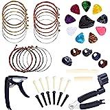 Benvo Guitar Accessories Kit All-in 1 Guitar Tool Changing Kit Including Guitar Picks, Capo, Acoustic Guitar Strings, String Winder, Bridge Pins, Pin Puller, Guitar Bones & Pick Holder, Finger Picks