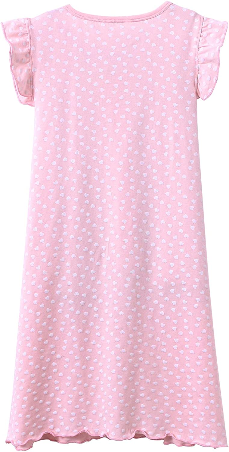 KEREDA Girls Nighties Cotton Heart Print Princess Style Nightdresses Kids Nightwear for 2-10 Years