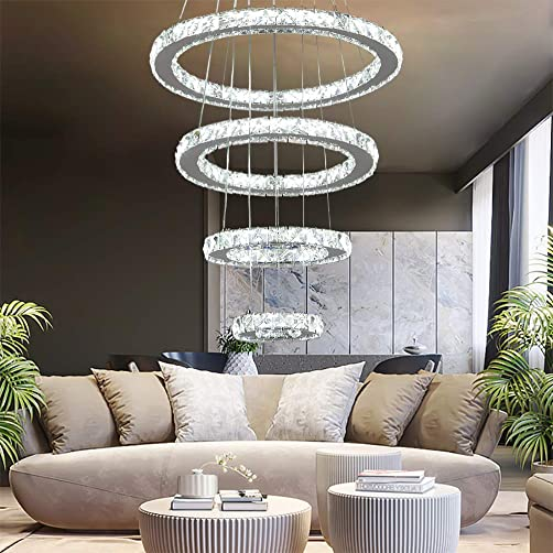 YUYUE Modern Luxury Crystal Chandelier LED Ceiling Light Four-Ring Crystal Chandelier, Three Colors Adjustable-Warm White Warm Yellow White, 3-5 Days Delivery 4 Rings