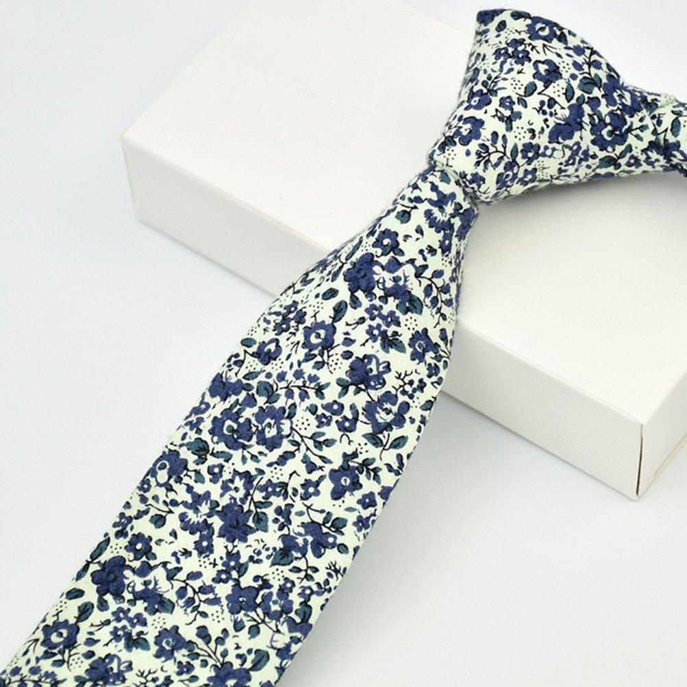 MOHSLEE Mens Gentle Skinny Tie Floral Print Cotton Neck Ties /& Pocket Square Set