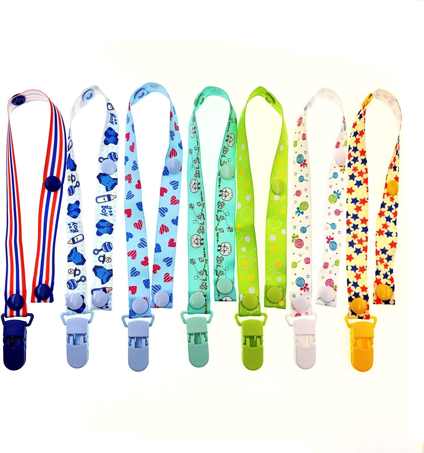 7 x Pacifier Clip Dummy Holder Straps for Boys Suitable for Baby mam soothers JZK 7 x Multicolor Silicone Baby Dummy Clip Ring for Boys